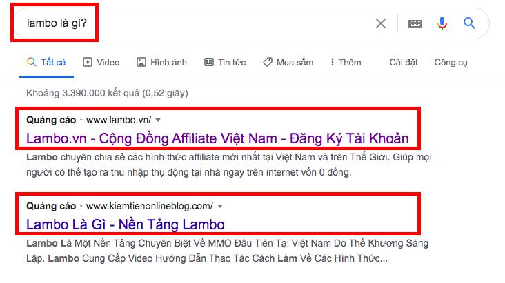 Lambo là gì? Ví dụ quảng bá lambo bằng google ads