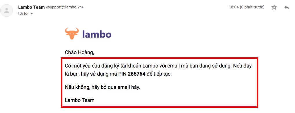Lambo là gì? xác nhận mã pin qua email