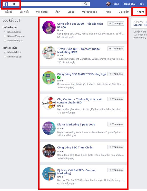 Bán hàng bằng facebook cá nhân - tham gia group có khách hàng tiềm năng
