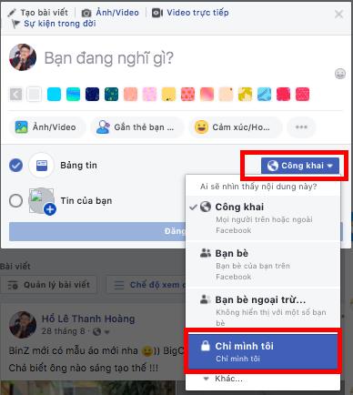 Đăng bài facebook - Chỉ mình tôi