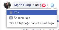 Đăng bài facebook - Xoá, ẩn bình luận