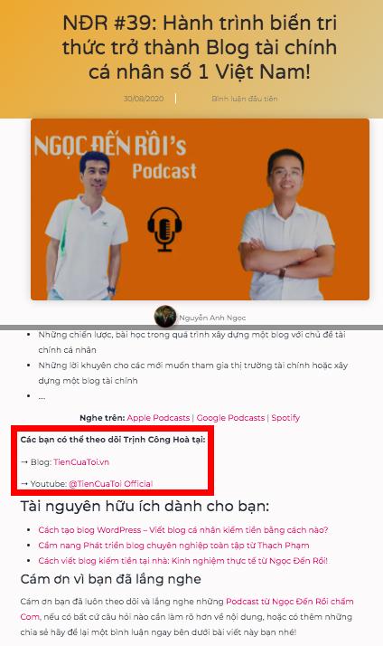 Backlink là gì? Ví dụ mình làm nội dung trên podcast anh Ngọc sẽ được dẫn link thế này