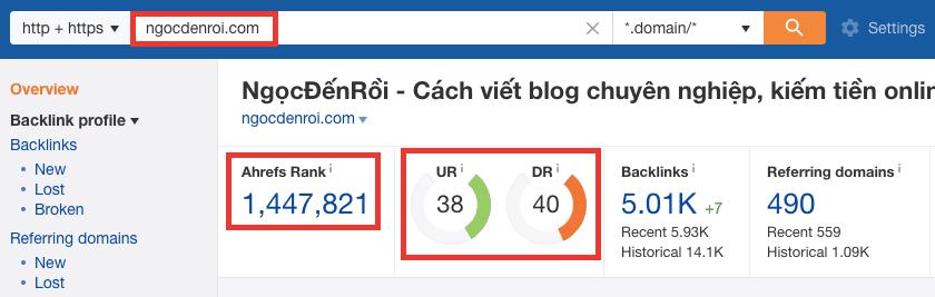 Cách đi backlink hiệu quả - kiểm tra chất lượng trang ngocdenroi.com