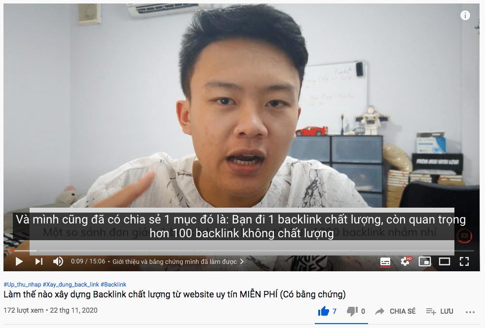 Cách đi backlink hiệu quả - video youtube của mình