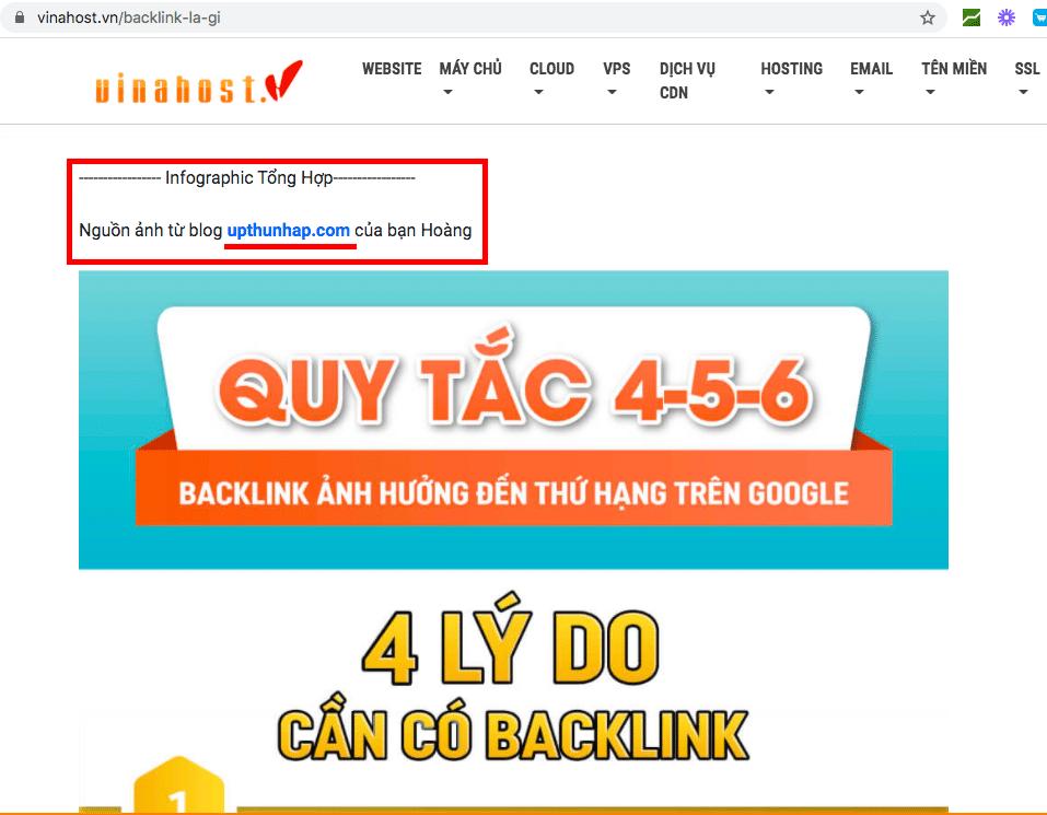 cách đi backlink hiệu quả - Trang vinahost đã share infographic của mình kèm 1 backlink