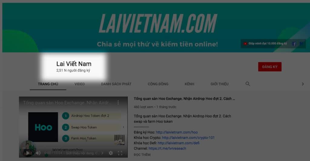 Tăng view youtube - Lai Viết Nam