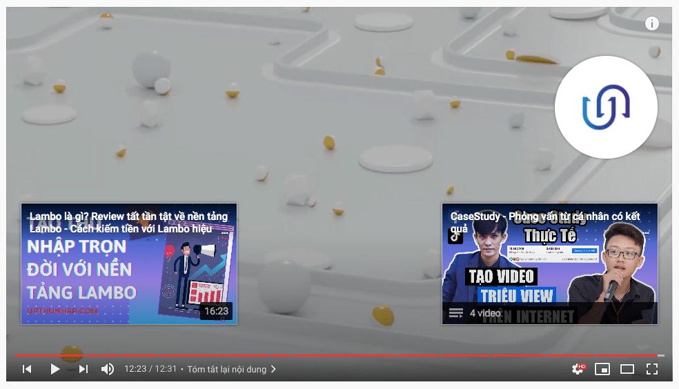 Tăng view youtube - màn hình kết thúc