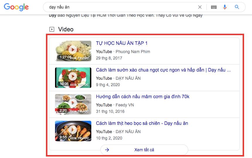 """Tăng view youtube - từ khoá """"dạy nấu ăn"""" trên google"""