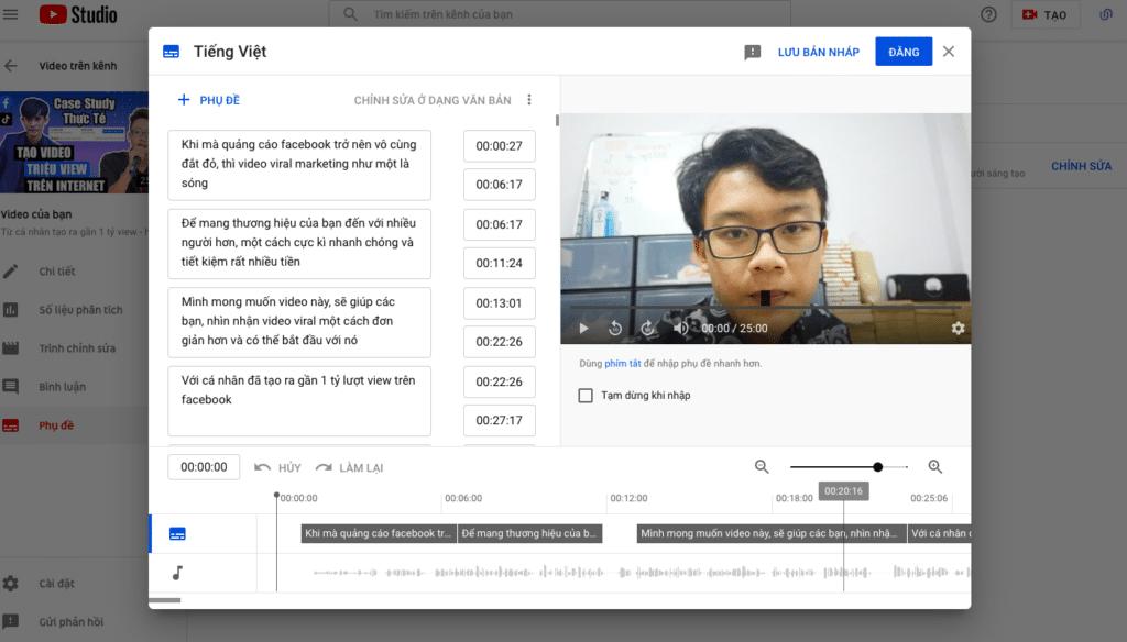 Tăng view youtube - tạo phụ đề cho video