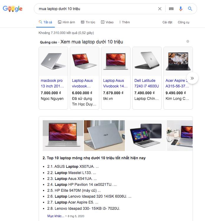 """Blog là gì? Ví dụ search """"mua laptop dưới 10 triệu"""""""