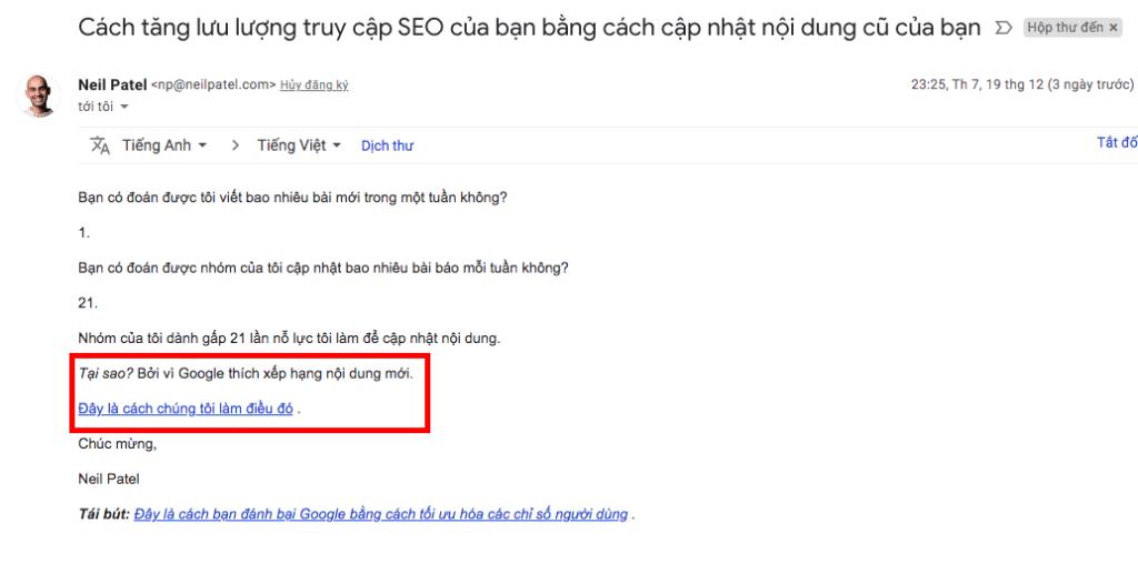 Tăng lượt truy cập website qua email